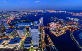 Обои ночь, город, река, фото, небоскребы, Япония, сверху
