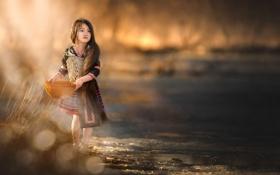 Картинка свет, река, девочка