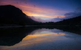 Обои лес, озеро, гора, вечер, силуэт, дымка, Словения