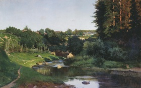 Обои картина, Крыжицкий, Деревня на берегу речки