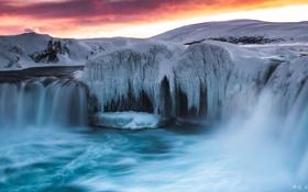 Картинка лед, зима, снег, природа, река, рассвет, водопад