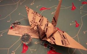 Обои ноты, оригами, певчая птица