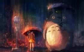 Картинка дождь, зонт, Мой сосед Тоторо, totoro, anime, Satsuki Kusakabe, Mei Kusakabe
