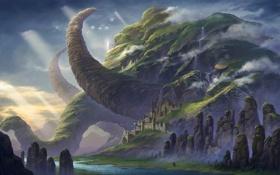 Обои зелень, вода, город, замок, скалы, слон, гора