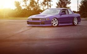 Обои Silvia, Nissan, sunset, purple, S13