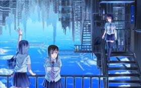 Обои облака, отражение, девушки, аниме