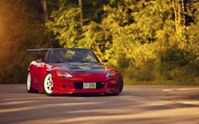 Картинка асфальт, red, родстер, Honda, блик, красная, хонда