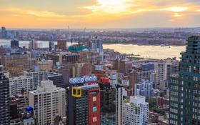 Обои рассвет, Нью-Йорк, небоскребы, панорама, залив, США, мегаполис