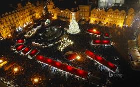 Обои Рождество, Новый год, Чехия, Прага, ярмарка, огни, люди
