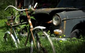 Картинка машина, велосипед, лом