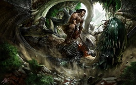 Картинка оружие, дракон, монстр, арт, мужчина, пещера, битва