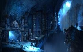 Обои люди, арт, храм, пещера, руины, Uncharted 2: Among Thieves