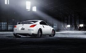 Обои белый, ангар, Nissan, white, ниссан, 350Z