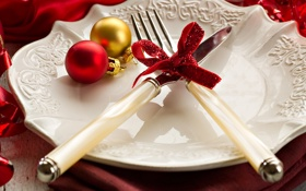 Обои посуда, бантик, шары, новогодние, новогодняя сервировка, нож, новый год