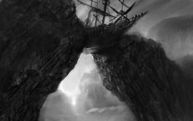 Обои скалы, черно-белый, корабль, арт, монохромный, Dark Souls II