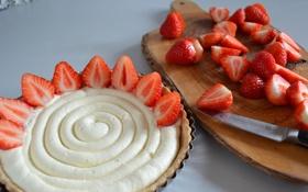 Картинка клубника, пирожное, еда, strawberries, berries, ягоды, сладкое
