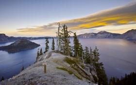 Картинка деревья, пейзаж, горы, озеро, знак
