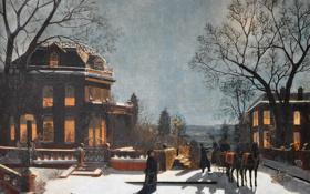 Обои зима, коттедж, Манхэттен, особняк, Гудзон, View from Upper Manhattan across the Hudson River, Samuel S. ...