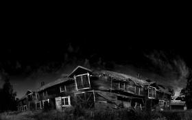 Обои дом, фотография, Черно белое, развалина