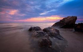 Картинка закат, облака, камни, океан