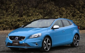 Картинка car, машина, Volvo, blue, хэтчбек, V60, R-Design