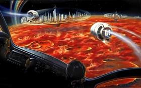 Картинка космос, поверхность, города, фантастика, планета, космический корабль