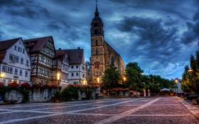 Обои цветы, здания, дома, Германия, площадь, Germany, костёл