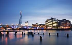 Картинка The Shard, Southwark Bridge, Great Britain, Великобритания, небоскрёб, мост, подсветка