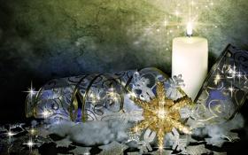 Обои украшения, обои, свеча, лента, снежинка, голубая, 1920х1080