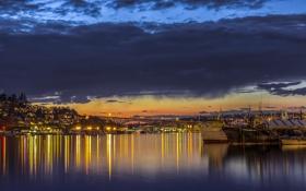 Картинка закат, USA, озеро, Washington, мост, тучи, Lake Union