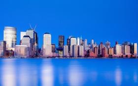 Картинка небо, вода, небоскреб, дома, Нью-Йорк, США, Манхэттен