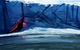 Обои холод, море, арт, факел, льдины, пещера