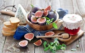 Картинка ягоды, сыр, хлеб, ложка, джем, варенье, инжир