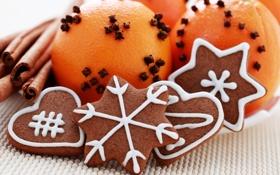 Обои снежинки, праздник, апельсин, печенье, сердечки, корица, фигурки
