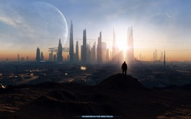 Картинка небо, город, будущее, планеты, человек
