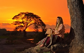 Картинка девушка, закат, настроение