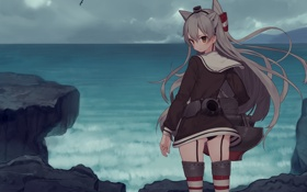 Картинка misoni comi, пейзаж, облака, океан, девушка, ушки, kantai collection