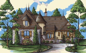 Картинка дом, рисунок, картина, живопись