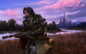 Обои пейзаж, река, оружие, замок, фантастика, арт, фонарь