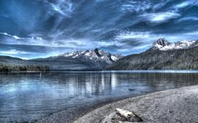 Обои небо, облака, деревья, горы, озеро, hdr