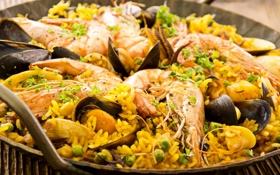 Обои морепродукты, креветки, рис, мидии, горошек