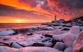 Картинка зима, море, закат, маяк
