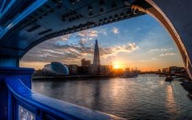 Картинка рассвет, англия, лондон, london, england, sunrise, thames