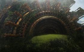 Картинка горы, сооружение, люди, небо