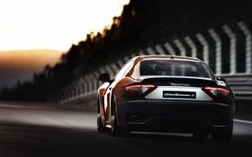 Картинка закат, Maserati, трасса, мазератти, трек, GranTurismo, rear