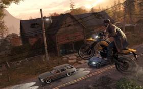 Картинка дорога, прыжок, трасса, деревня, мотоцикл, Watch Dogs