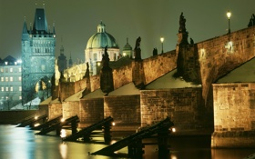 Обои ночь, огни, река, Прага, Чехия, Влтава, Карлов мост