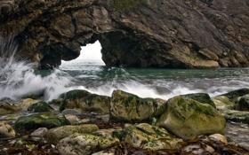 Картинка скала, камни, берег, прибой