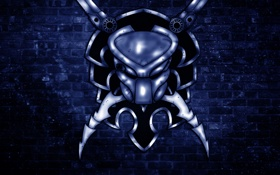 Обои стена, хищник, голова, лезвие, синий фон, predator