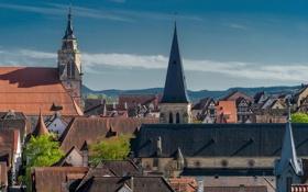 Картинка крыша, небо, башня, дома, Германия, Тюбинген